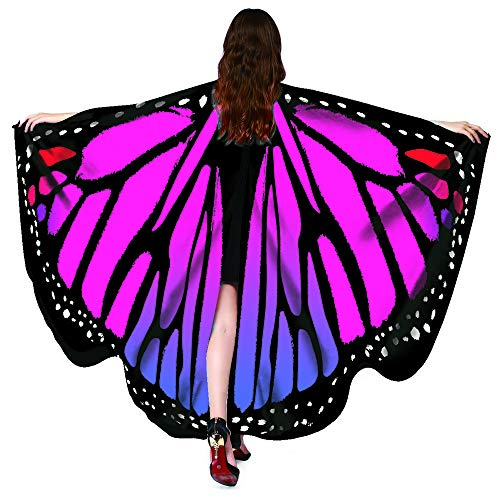 Halloween Party Soft Fabric Butterfly Wings Shawl Fairy Ladies Nymph Pixie Costume Accessory (Butterfly Rose) -