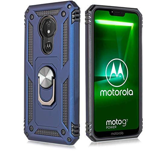 for Motorola Moto G7 Power Case Drop Protection Rotating Ring Kickstand Holder Magnetic Car Mount Armor Shockproof Cover with Tempered Glass Screen (Navy) (Motorola Moto G Best Price)