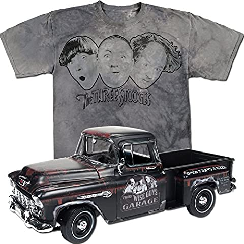 (Set) Three Stooges 1955 Chevy Stepside Truck Die Cast And Faces T-Shirt XL - Pictures 1955 Chevy