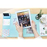 Large Size Mouse pad Anti-slip Desk Mouse Mat Waterproof Desk Protector Mat with Smartphone Stand, Pockets, Dividing Rule, Calendar and Pen Groove(Various Colors) (Blue)