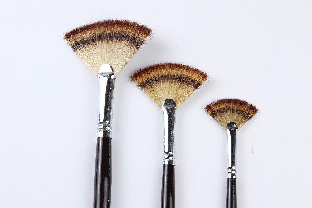Paint Brush Set Artist Fan Brush Wood Long Hands Painting Brush Set for Oil Paint Acrylic Paint (3PCS) Golden Maple