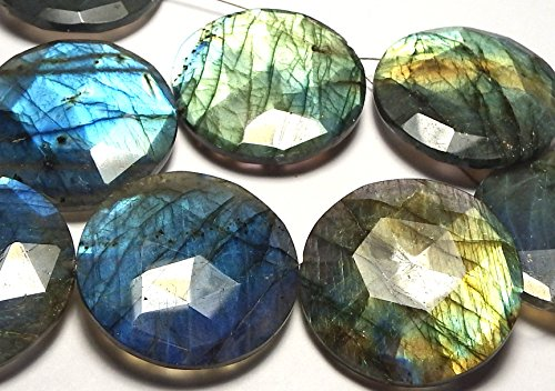 LABRADORITE 30mm Faceted Coin Pendant Beads AAA NATURAL (Labradorite Faceted Coin Beads)