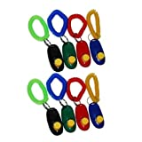 Big Button clicker with Wrist Band for Clicker Training - Click and Train Dog, cat, Horse, Pets - 8 Pack