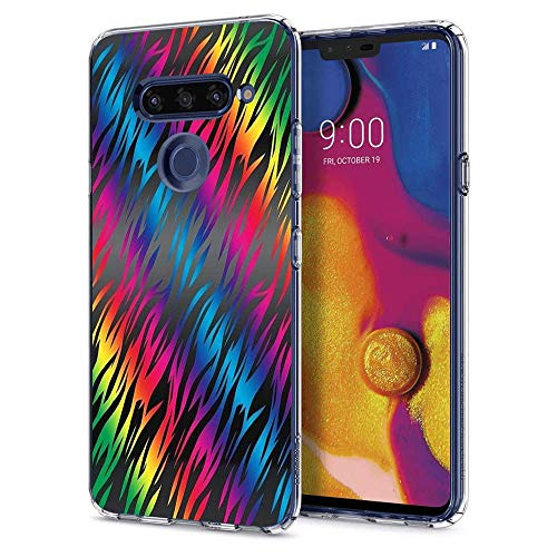 LONHAO LG V40 ThinQ Case Color Grain Printed Transparent Clear Case with Rubber Silicone Skin Clear Soft Flexible Protective Cover for LG V40 ThinQ