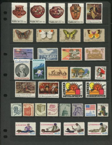 1977 COMPLETE MINT SET OF US POSTAGE STAMPS ISSUED IN 1977 (Total 34 Stamps)