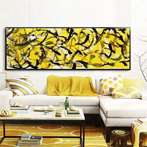 ポスターとプリント壁アートキャンバス絵画抽象黒と金黄色の壁アート写真用リビングルームの装飾50×150センチいいえフレーム