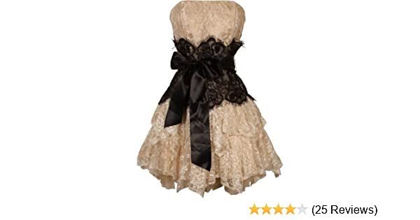 80fd5d18375f3 Amazon.com: Strapless Bustier Contrast Lace and Crinoline Ruffle Prom Mini  Dress Junior Plus Size, Medium, Taupe-Black: Clothing