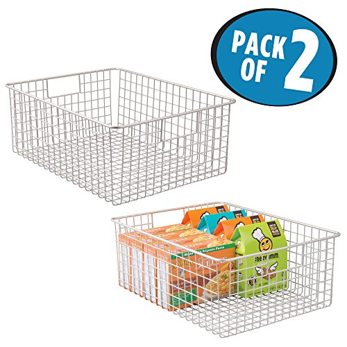 mDesign Kitchen Pantry Organizing Wire Basket with Handles, 16'' x 12'' x 6'' - Pack of 2, Satin by mDesign