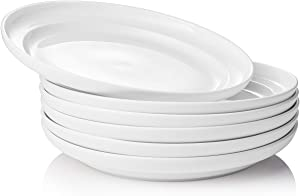 DOWAN Porcelain White Dinner Plates - 8 Inch Salad Serving Plates Bowl for Pasta Salad, Dishwasher Microwave Oven Safe Dinnerware Plate Set of 6 for Restaurant Family Party Kitchen Use