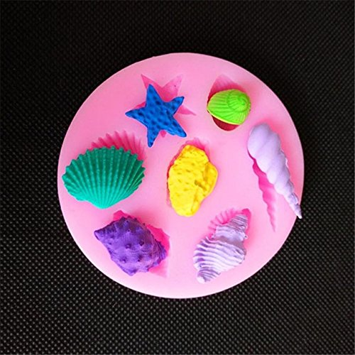 Silicone Mold RANDOM COLOR 1 Piece Seashells Starfish Conch Shape Fondant Silicone Mold For Kitchen Baking Chocolate Pastry Candy Clay Making Decoration Tool