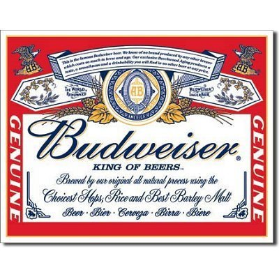 TIN Sign Budweiser - Label by Poster Revolution (Budweiser Label Sign Tin)