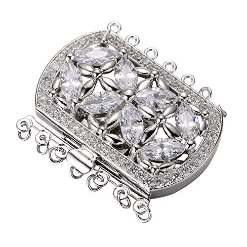PH PandaHall 2 Sets Brass Cubic Zirconia Box Clasps Platinum Multi-Strand Box Clasps Rectangle Push Pull Box Clasps for Necklace Bracelet Jewelry Findings 34x43x9mm 1.5mm 2.5mm ()