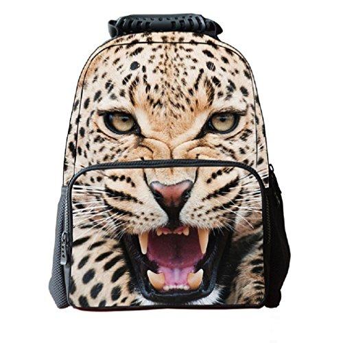 3D Cheetah Print Children School Backpack Laptop Compartment Girls Printed Felt Fabric Book Bag Boys Animal School Teen Rucksacks