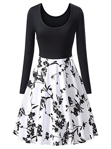 vestidos Scothen Rockabilly de oscilación de falda los y cintura de vestidos del línea cóctel una imperio vestido de retro la hasta Hepburn 50s elegantes A rodilla burbuja noche Audrey la de zvZqrBz