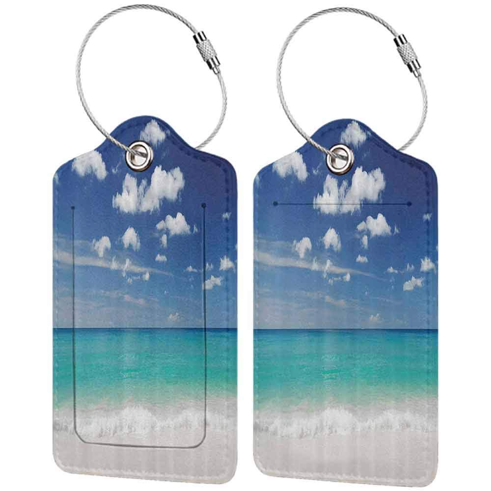 Soft luggage tag Tropical Summer Beach with Exquisite Sky Relax Holiday Away Serene Coast Scenery Bendable Blue Turquoise White W2.7 x L4.6