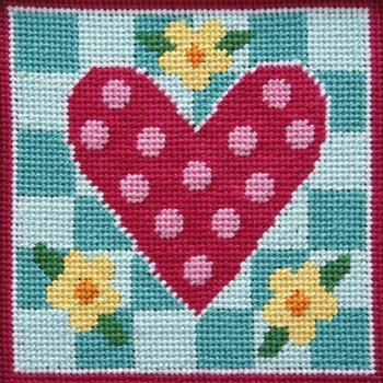Heart Needlepoint Canvas (Polka Dot Heart - Needlepoint Kit)