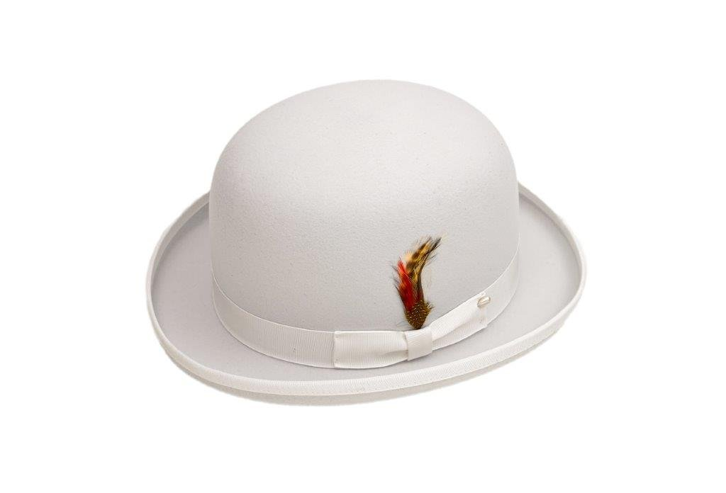 New Mens White Derby Bowler Hat - 100% Wool, Extremely Stylish, Very!