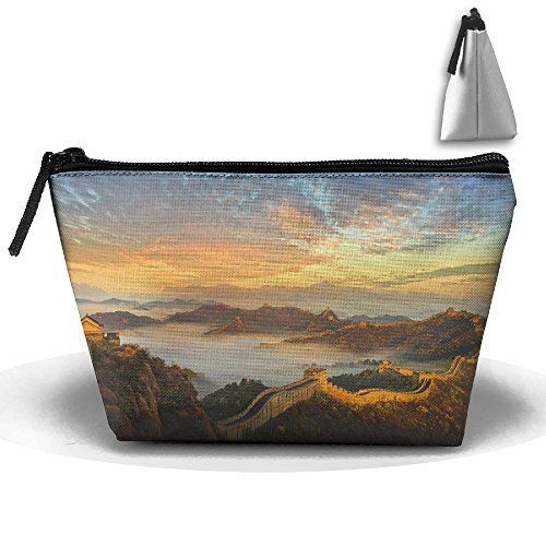 Jingclor Portable Trapezoidal Storage Pouch Great Wall Of China Landscape Cosmetic Bags Travel Toiletry Zipper Pencil Holders