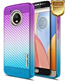 moto g side case - Moto G5 Plus Case with [Full Coverage Tempered Glass Screen Protector], NageBee [Frost Clear] [Carbon Fiber] Slim Soft TPU Rubber Cover Case For Moto G Plus (5th Generation) XT1681 -Purple/Blue
