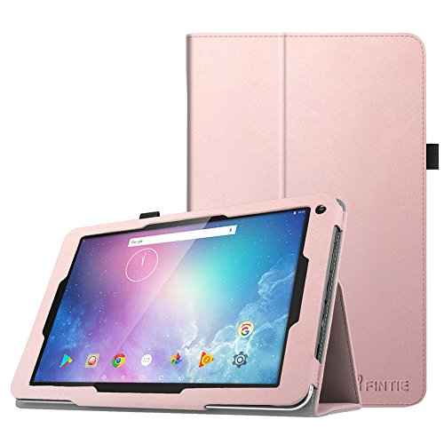 Fintie Folio Case for Dragon Touch V10 10-Inch Android Tablet, Slim Fit Premium PU Leather Stand Cover with Stylus Holder, Rose Gold