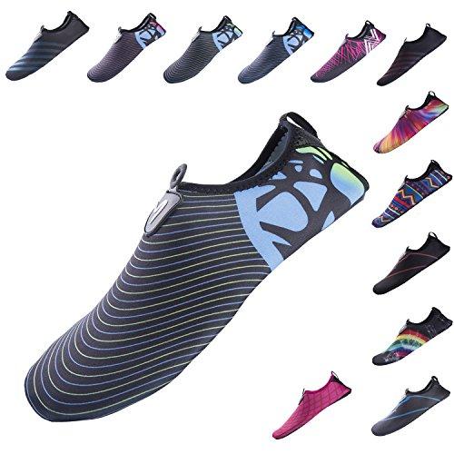 YQXCC Water Shoes Mens Womens Barefoot Quick Drying Anti-Slip Aqua Shoes for Beach Pool Surf Aqua Yoga Exercise (L(W:8.5-9.5;M:7-8), Black Blue3)