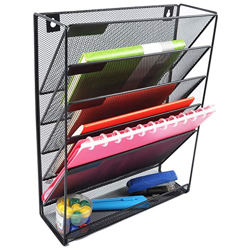 (EASEPRES Hanging File Holder Organizer, 6 Tier Mesh Metal Wall Mount Document Letter Tray Organizer for Office Home, Black)
