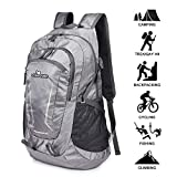 Loocower 45L Packable Ultralight Hiking Backpack, Lightweight Multi-functional Casual Camping Trekking Rucksack Cycling Travel Climbing Mountaineer Outdoor Sport Daypack Bag - Gray