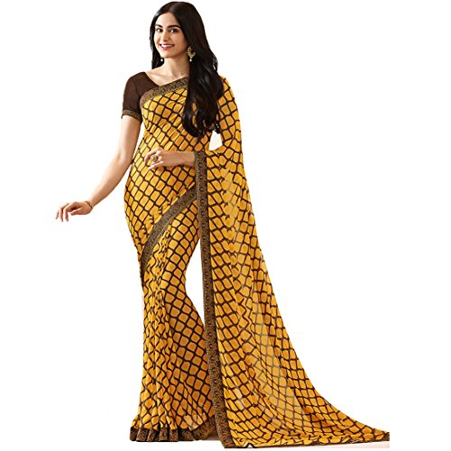 - Mohit Creations Women's Partywear Printed Saree with Unstitched Blouse