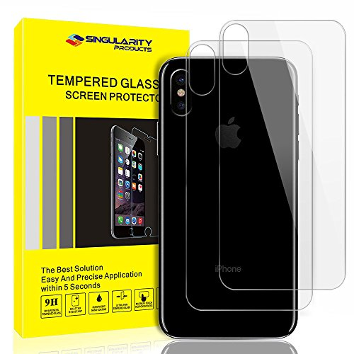 Singularity Products SP-0045 iPhone X Back Screen Protector, Anti Fingerprint iPhone X Tempered Glass Screen Protectors Rear Protector Screen Film for iPhone X / 10 – 2 Pack – Clear