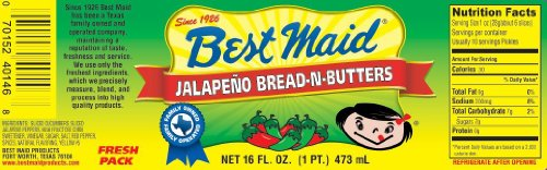 Best Maid Jalapeno Bread-n-Butters 16oz Jar (Pack of 2)