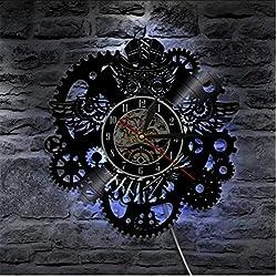 mubgo Wall Clocks Steampunk Vinyl Record Wall Clock Modern Design 3D Decorative Clock with 7 Led Change Gear Wall Watch Home Decor Lighted