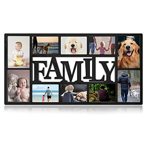 Neala Family Picture Frame, Photo Frame Plastic Display Picture Frame Large Black Plastic Photo Frame for Wall Hanging, Holds Four 5X7 and Six 4X6 Photos (Photo Family Frame For)