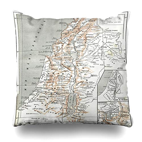 Ahawoso Throw Pillow Cover Sea Map Palestine Vintage Engraved Dictionary Border Words Things Larive Fleury Design Cartography Decorative Pillowcase Square Size 16