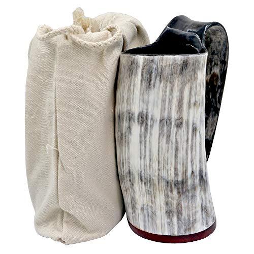 HONGLAYS Ox Horn Mug-Natural Buffalo Horn Viking Drinking Mug Viking Mug Cup (With Redwood bottom)