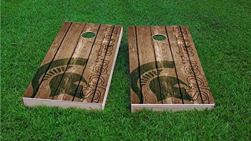 Tailgate Pro's Michigan State Spartans Distressed Cornhole Boards, ACA Corn Hole Set, Comes with 2 Boards and 8 Corn Filled Bags
