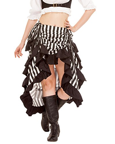 ThePirateDressing Steampunk Gothic Victorian Women's 100% Cotton Cosplay Costume Show Girl High-Low Skirt (Black-White) (XXX-Large)]()