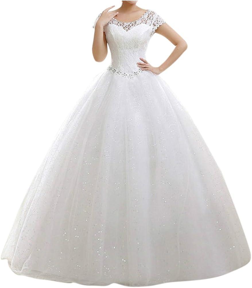 LaoZan Damen Hochzeitskleid Runde Ausschnitt Kurzarm Lange Spitzen  Abendkleider