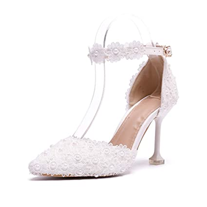 95c3c73986d Women s Wedding Shoes Bridal Sandals Evening Dress Ankle Strap Stiletto Heels  Pointed Toe Pumps Court Shoes
