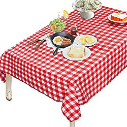 OUWIN 100% Waterproof Rectangle Tablecloth Spill-Proof Wipeable PVC Vinyl Table Cover Indoor Outdoor Picnic Table Cloth (54 x 84, Red and White Checkered)