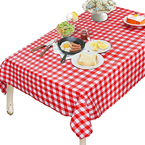 OUWIN 100% Waterproof Rectangle Tablecloth Spill-Proof Wipeable PVC Vinyl Table Cover Indoor Outdoor Picnic Table Cloth (54 x 108, Red and White Checkered)