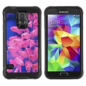 Suave TPU Caso Carcasa de Caucho Funda para Samsung Galaxy S5 SM-G900 / fish tropical diving blue pink coral reef / STRONG