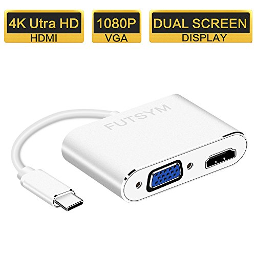 USB C to HDMI VGA Adapter Dual Screen Display, Thunderbolt 3 USB 3.1 Type-C to VGA HDMI 4K Video Converter Projector TV for Samsung Galaxy S8 Plus/ Note 8/ 2017 Macbook Pro/ Chromebook Pixel and More (Dual Vga Connector)
