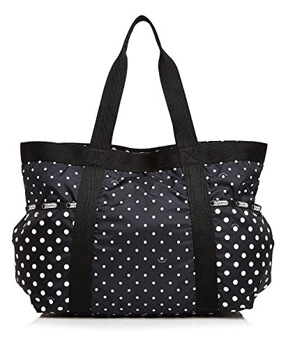 LeSportsac Gym Tote (One Size, Black (D819) / White Polka Dot) by LeSportsac