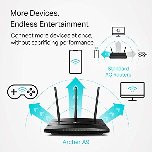 TP-Link AC1900 Smart WiFi Router - High Speed MU- MIMO Router, Dual Band, Gigabit, VPN Server, Beamforming, Smart Connect, Works with Alexa (Archer A9) (Renewed)