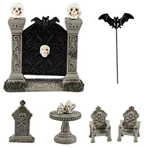 Juvale Halloween Fairy Garden Kit – 6-Piece Halloween Miniature Resin Figurines, Garden Ornaments, Party Favors, Haunted House Design Outdoor, Lawn Home Decoration