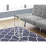 Monarch Specialties I 3372 Grey Cement with Chrome Metal Accent Table