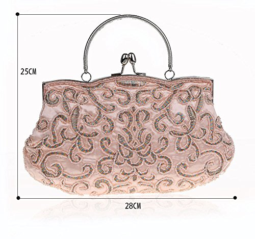 Evening Beading Cocktail Purple Purse Handbag Clutch Women Bag Party Beads Bride Flowers Bag Cqntz