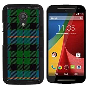 Paccase / SLIM PC / Aliminium Casa Carcasa Funda Case Cover para - Fabric Green Blue Stripes - Motorola MOTO G 2ND GEN II