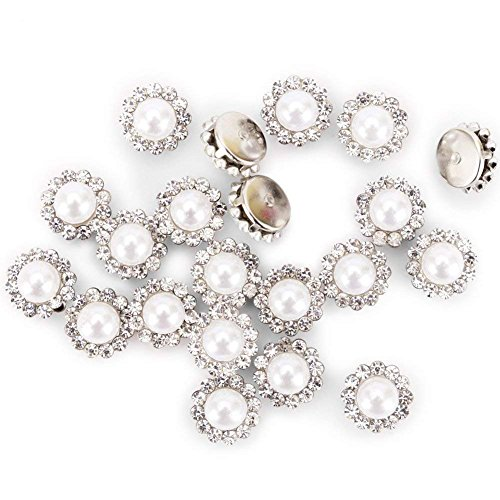 100Pcs Crystal Pearl Buttons, Round Flatback Rhinestone Beads Buttons with Diamond, DIY Craft Sewing Fasteners Accessories for Jewelry Making, Clothes, Clothing, Bags, Shoes, Wedding Dress ()