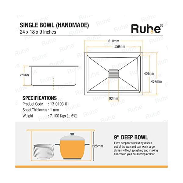 Ruhe Premium Stainless Steel Handmade Kitchen Sink 24x18x9 Inches (Matt Finish).